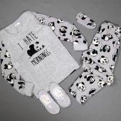 ı Hate Morning Desenli Peluş Bayan Pijama Takımı