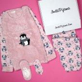 Penguen Desenli Peluş Bayan Pijama Takımı