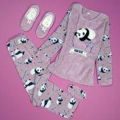 Pudra Panda Desenli Peluş Bayan Pijama Takımı