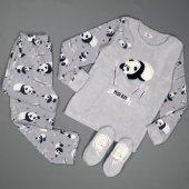 Gri Pudra Panda Desenli Peluş Bayan Pijama Takımı
