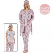 Pembe Cat Cafe Desenli Sabahlıklı Pijama Takımı