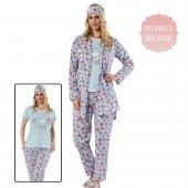 Mavi Cat Cafe Desenli Sabahlıklı Pijama Takımı