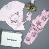 Çiçek Desenli Kısa Kollu Pijama Takımı-2