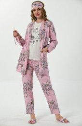 Pembe Çiçek Kuş Desenli Sabahlıklı Pijama Takımı