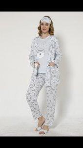 Mavi Sleepy Cat Desenli Sabahlıklı Pijama Takımı