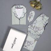 Yeşil Çiçek Kuş Desenli Önden Düğmeli Kısa Kollu Pijama Takımı-2