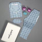 Kareli Önden Düğmeli Kısa Kollu Pijama Takımı-2