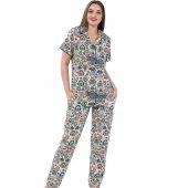 Rugy Exculusive Collection Önden Düğmeli Kısa Kollu İpek Saten Pijama Takımı