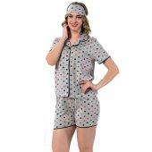 Puan Desenli Önden Düğmeli Kısa Kollu Şortlu Pijama Takımı