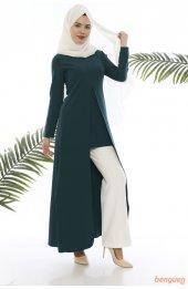 5012 A Kesim Tesettür Elbise - Zümrüt