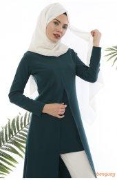 5012 A Kesim Tesettür Elbise - Zümrüt-2