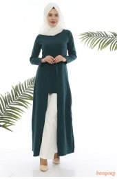 5012 A Kesim Tesettür Elbise - Zümrüt-4
