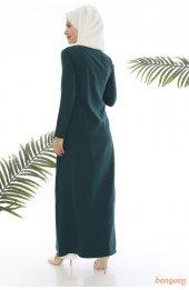 5012 A Kesim Tesettür Elbise - Zümrüt-5
