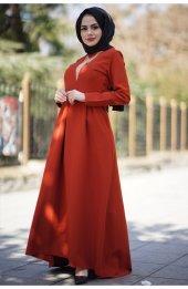 3058 Kolyeli Uzun Elbise Kiremit