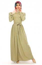 Boydan Düğmeli Cep Üstü Işlemeli Elbise 5048 Çağla Yeşili