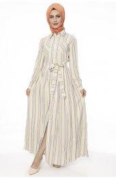 5048 Çift Cep Boydan Düğmeli Elbise Sari