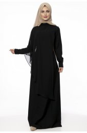 5046 Inci Detayli Elbise Siyah