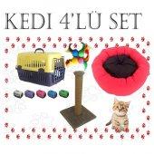 4lü Kedi Seti Kedi Yatağı + Taşıma Çantası+tırmalama+top