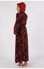 052 Desenli Elbise - Bordo-5