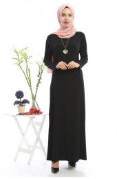 1007 Kolyeli Elbise Siyah