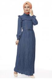 5039 Önü Firfirli Elbise - Indigo