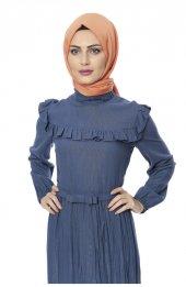 5039 Önü Firfirli Elbise - Indigo-2