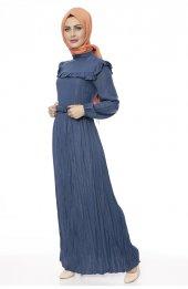 5039 Önü Firfirli Elbise - Indigo-4
