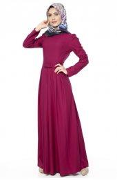 5050 Kemerli Elbise - Mürdüm-3