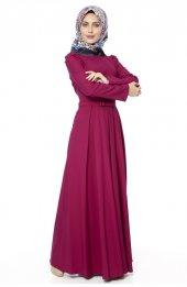 5050 Kemerli Elbise - Mürdüm-4