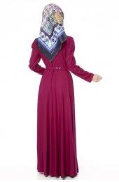 5050 Kemerli Elbise - Mürdüm-5