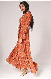 5076 Desenli Elbise - Taba-4