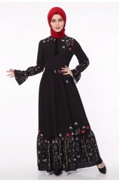 Eqru Desenli Tesettür Elbise 5071 Siyah