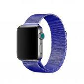 Apple Watch 2-3 Metal Mıknatıslı Hasır Kordon Milanese 42mm-Mavi