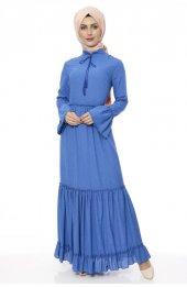 5051 Hakim Yaka Elbise Mavi