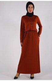 5069 Uzun Tesettür Elbise Taba