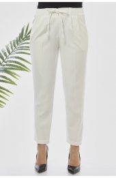 101 Beli Lastikli Duble Paça Rahat Kesim Pantolon Beyaz