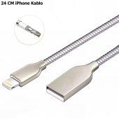 24 CM Metal Powerbank Kablosu iPhone Kopmaz Kırılmaz