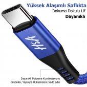 Ha 25cm 1.2m Hasır Örgülü Type C Hızlı Şarj Data Kablosu Mavi