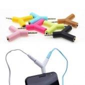 2 Çıkışlı Stereo Kulaklık Çoklayıcı Aparat Anahtarlık 3.5mm - Mi--2