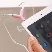 2 Çıkışlı Stereo Kulaklık Çoklayıcı Aparat Anahtarlık 3.5mm - Mi--4