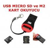 2 Adet Usb Kart Okuyucu Yazıcı Mikro Adaptör 2gb 4gb 8gb 16gb Sd