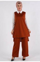 5041 Gömlek Yaka Bluz -Pantolon Üçlü Takim - Taba