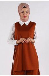 5041 Gömlek Yaka Bluz -Pantolon Üçlü Takim - Taba-2