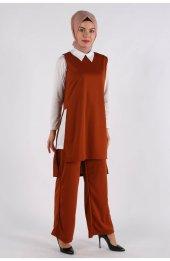 5041 Gömlek Yaka Bluz -Pantolon Üçlü Takim - Taba-3