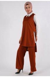 5041 Gömlek Yaka Bluz -Pantolon Üçlü Takim - Taba-4