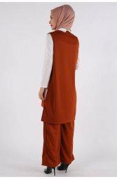 5041 Gömlek Yaka Bluz -Pantolon Üçlü Takim - Taba-5