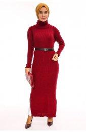 Balikçi Yaka Uzun Triko Elbise 1450 Bordo