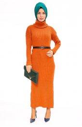 Balikçi Yaka Uzun Triko Elbise 1450 Kiremit