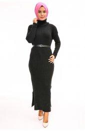 Balikçi Yaka Uzun Triko Elbise 1450 Siyah