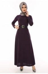 Kemerli Tesettür Elbise 3010 Mor